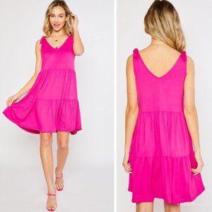 V-Neck Tiered Knit Dress